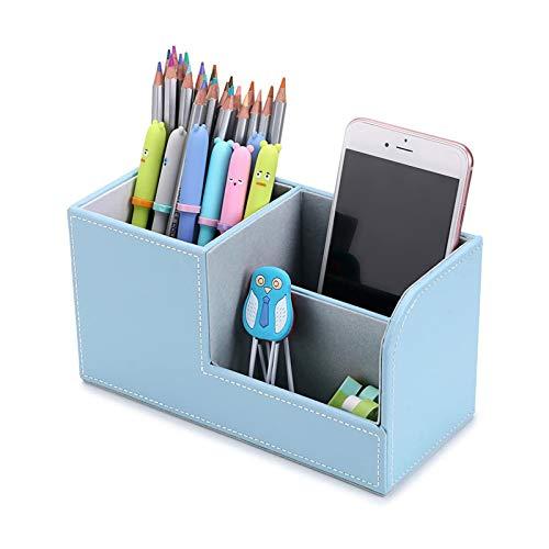 Oficina de Moda Cuero de la PU Soporte para bolígrafo Creativo Escritorio Multifuncional Caja de Almacenamiento pequeña Caja de Almacenamiento de Control Remoto móvil Caja
