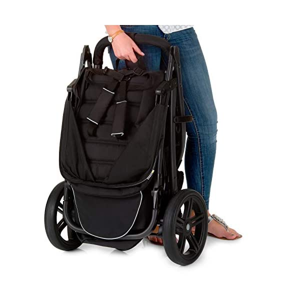 Hauck Rapid 3 Wheel Pushchair up to 25 kg with Lying Position from Birth, Small Foldable with One Hand, Height Adjustable Push Handle, Large Basket - Black Hauck LONG USE: The pushchair is suitable from birth (in lying position or in combination with the separate 2-in-1 Carrycot) and loadable up to 25 kg (seat unit 22 kg + basket 3 kg) EASY TO FOLD: This stroller folds away compactly and can be then carried with one hand only by the release loop COMFORTABLE: For the kid thanks to backrest and footrest adjustable into flat position, as well as for parents thanks to height-adjustable handle and large shopping basket 7