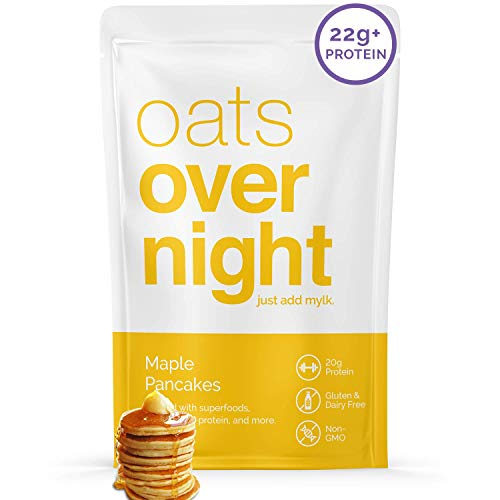 Oats Overnight - Maple Pancakes (24 Pack) Dairy Free, High Protein, Low Sugar Breakfast - Gluten Free, High Fiber, Non GMO Oatmeal (2.6oz per pack)
