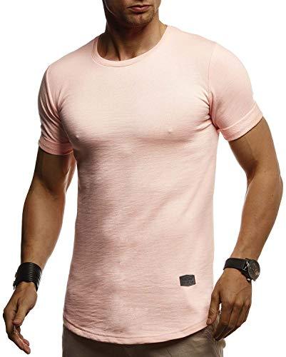 Leif Nelson Herren Sommer T-Shirt Rundhals Ausschnitt Slim Fit Baumwolle-Anteil Cooles Basic Männer T-Shirt Crew Neck Jungen Kurzarmshirt O-Neck Kurzarm Lang LN8311 Lachsrosa Large