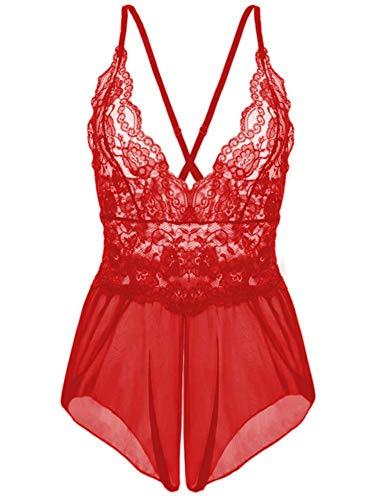 Kinsmirat Damen Reizwäsche übergröße Negligee V-Ausschnitt Overall Nachtwäsche (XL, Z-Rot)