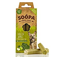 Soopa Kale & Apple Dental Sticks 100g, 100% natural. Low in fat, calories & protein Hypo-allergenic & pet nutritionist approved Help fight bad breath & aid digestion Winner of PPRA best pet product award