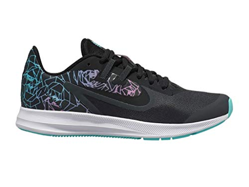 Nike Big Girls GS Downshifter 9 Rebel (Big Kid) Running Shoe Sneakers Anthracite/Black/Light Aqua 5 Big Kid M'