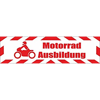 Magnetschild Motorradausbildung 30 x 8 cm reflektierend INDIGOS UG Magnetfolie f/ür Auto//LKW//Truck//Baustelle//Firma