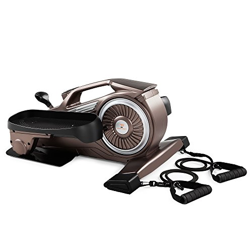 Bionic Body Magnetic Tension Under-Desk Elliptical Mini Stepper Trainer with Resistance Tubes NS-1009