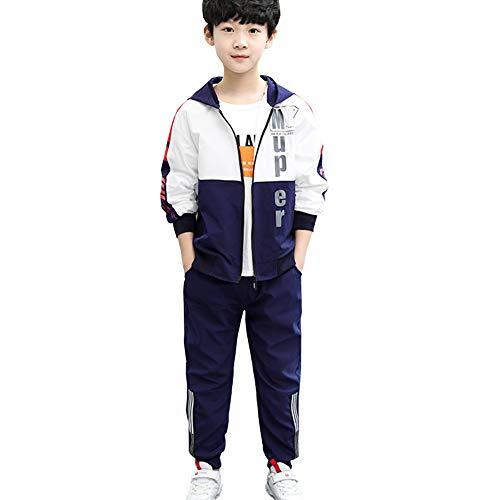 L PATTERN Kinder Jungen 3tlg Jogginganzug Trainingsanzug Sportanzug Freizeitanzug Outfit-Set Bekleidungsset Zweiteiler(Sweatshirt+Sweathose+T-Shirt), Weiß, 122-128