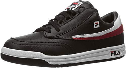 Fila mens Original tennis shoes, Black White-red, 7.5 US