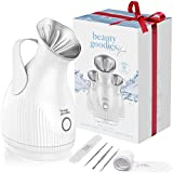 Facial Steamer for face Aroma Nano Ionic Face Steamer for Facial with Blackhead Remover Kit - Pore Cleanser, Steam Inhaler - BPA Free Deep Cleansing Home Facial for Blackhead Vacuum Facial Steamer for Sinuses