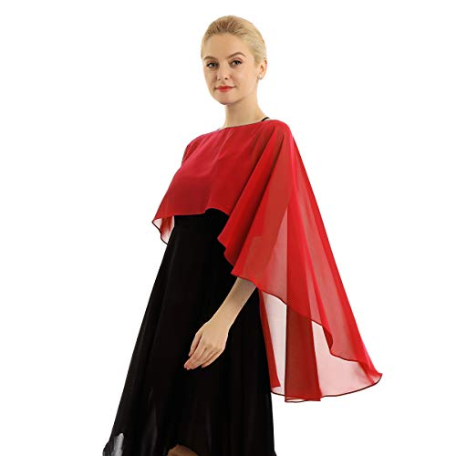 YiZYiF Damen Chiffon Bolero Jacke Elegant Jäckchen Cape Leichter Poncho Cardigan Tops Shrug Schal Umschlagtuch zum Brautkleid Abendkleid Rot Einheitsgröße