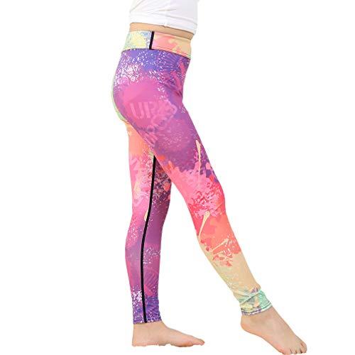 Yying Mädchen Legging Drucken Sporthosen Elastizität Lässige Hosen Hohe Taille Yoga Keucht Bequem Atmungsaktiv Strumpfhosen 5-12 Jahre Alt