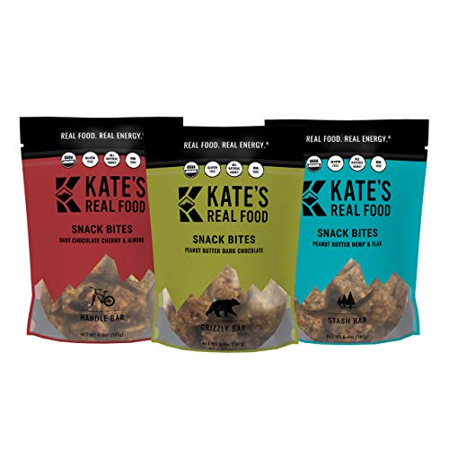 Kate's Real Food Granola Bites Variety 3 Pack   Clean Energy, Certified Organic, Gluten Free, Non GMO   All Natural Delicious Health Snack