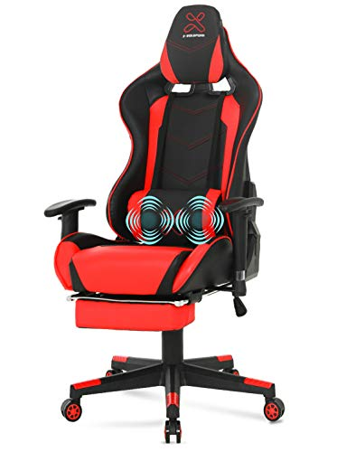 Racing Style Gaming Chair Massage Ergonomic Office Chair with Footrest and Lumbar Massage Pillow, Adjustable PU Leather Video Game Chair for Adults(Red & Black)