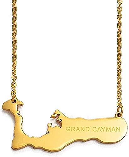 LBBYLFFF Collar Collares Collar de Cadena de Moda 50cm + 5cm Islas Caimán para Gran Caimán Mapa Collares Pendientes Color Dorado Regalos Brillantes Joyería Regalos