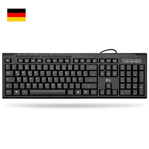 Rii RK907 Tastatur USB, Kabelgebundene Tastatur PC, Business Slim Tastatur mit Kabel für Mac/PC/Tablet/Windows/Android/Microsoft, QWERTZ Deutsches Layout