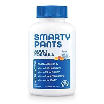 SmartyPants Daily Gummy Multivitamin Adult  Vitamin C D3 & Zinc for Immunity Omega 3 Fish Oil  DHA/EPA  Iodine Choline Vitamin B6 E Methyl B12 180 count  30 Day Supply
