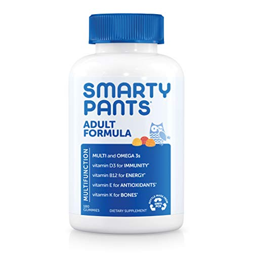 Daily Gummy Multivitamin Adult: Vitamin C, D3, & Zinc for Immunity, Omega 3 Fish Oil (DHA/EPA), Iodine, Choline, Vitamin B6, E, Methyl B12 by Smartypants (180 count, 30 Day Supply)