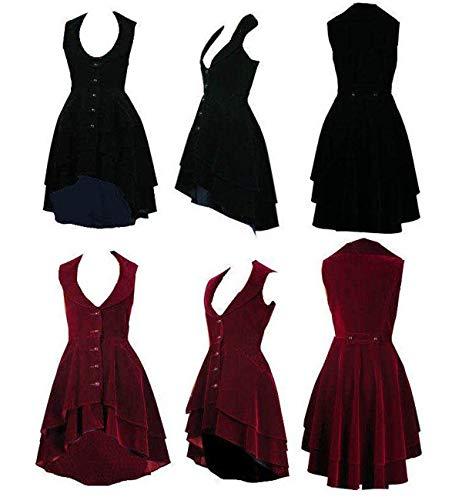 Luscious - Vestido gótico estilo victoriano de terciopelo acampanado, estilo steampunk, frock-coat o chaleco, tallas 8-28