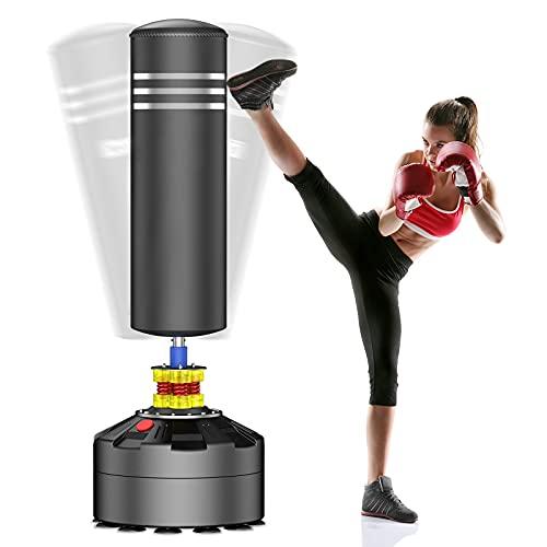 YOLEO Boxsack Standboxsäcke Trainingsgeräte Erwachsene Freistehender Standboxsack Boxing Trainer Heavy Duty Punchingsäcke (Schwarz)