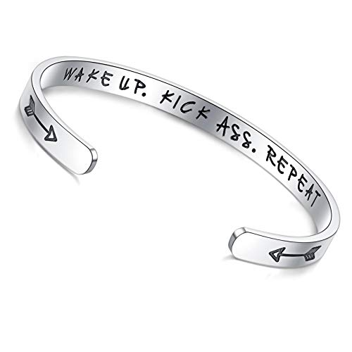 LYTOPTOP Friendship Inspirational Gifts for Women Positive Quote Engraved Wake Up Kick Ass Repeat Bracelet Best Friend Encouragement Motivational Gifts