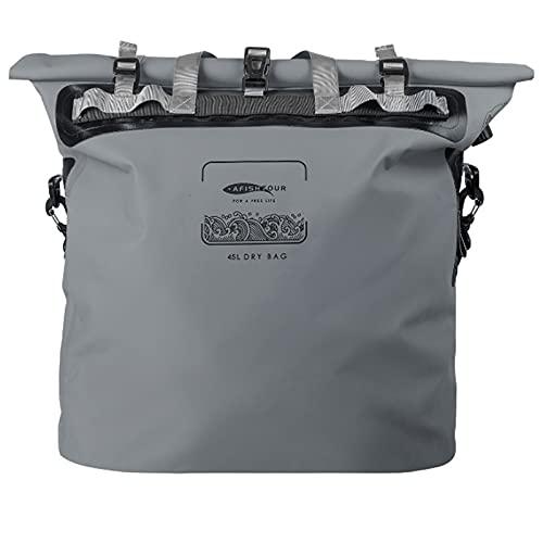 DOUDOU wasserdichte Tasche Im Freien Mit Einem Gasventil Und Einem Einstellbaren Langen Schultergurt, Geeignet Für Kajakfahren/Ruder- / Kanufahren/Angeln/Rafting/Schwimmen/Ca(Size:45L,Color:Grey)