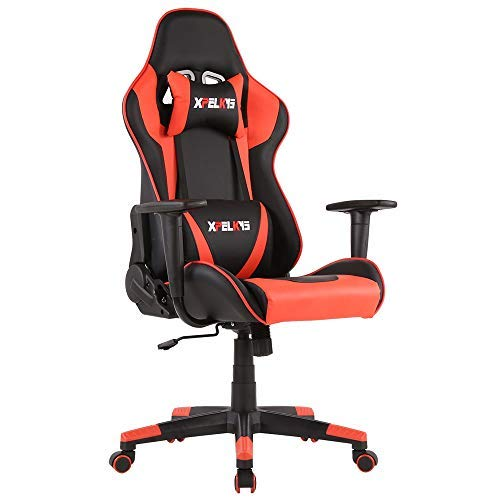 XPELKYS Office Chair Gaming Chair Computer Game Chair Video Game Chair Racing Style High Back PU Leather Chair Executive and Ergonomic Style Swivel Chair with Headrest and Lumbar Support (Red-12) chair gaming red