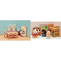 Product 1: Furniture set with accessories: kitchen cabinet, tea set, toaster oven, dining table, chair, baby chair, etc Product 1: The toaster oven and kitchenware can be stored in the kitchen cabinet Product 1: Babies from each family can sit in the...