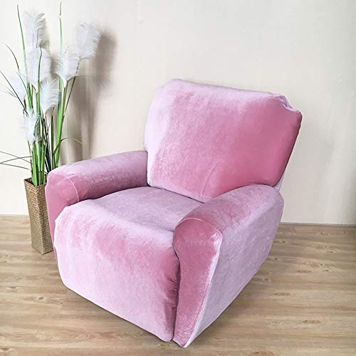 HOMRanger Thicken Velvet Sofa Cover,Solid Color All-Including Sofa Slipcover Sustainable No-Slip Furniture Protector for Chivas Couch Pink Three Seats