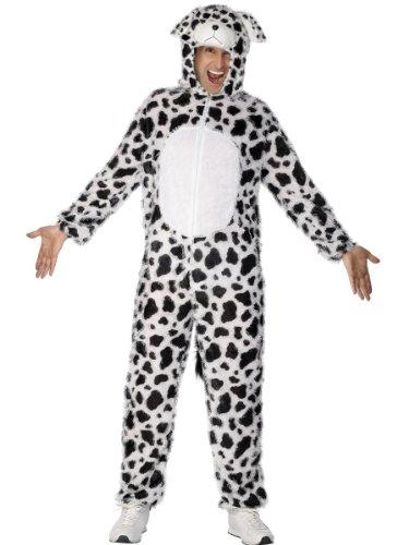 Dalmatiner Kostüm enthält Jumpsuit mit Kapuze, Medium