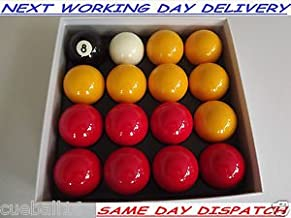 Homegames Pool Table Balls RED & YELLOW 2 Inch Full Size UK Set - Pub Style Set by Competition