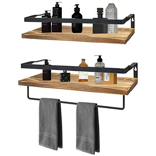 Foraineam - Estantes de pared flotantes con barra para toallas, estantes de madera rústica y metal, montaje en pared, estantes para cocina, baño, dormitorio, sala de estar