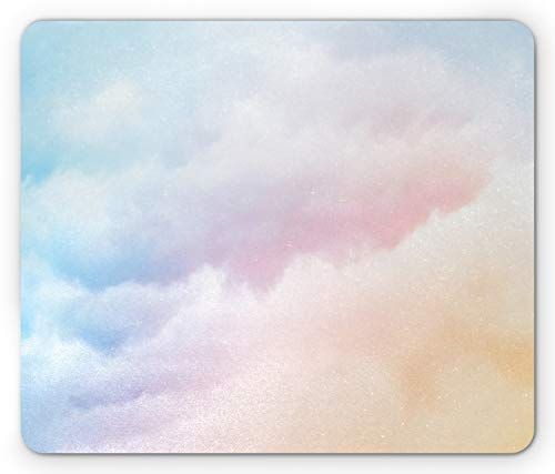 Lunarable Clouds Mouse Pad, Fluffy Dreamy Gradient Faded Pastel Cloud Ethereal Fog Sublime Rainbow Featured Print, Rectangle Non-Slip Rubber Mousepad, Standard Size, Pink Blue