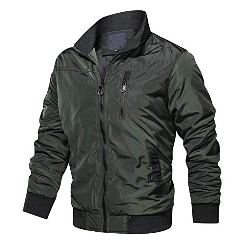 Military Bomber Jackets Men Casual Solid Zipper Pilot Jacket New Thin Stand Collar,MG9032 Green,XXXL