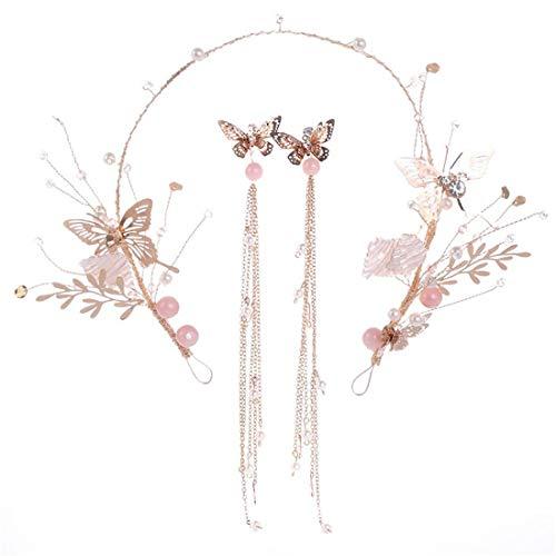 Ohrringe Crown Haarband Golden Leaf Haarband Ohrringe Set Hochzeitskleid Zubehör Braut Haarschmuck Ohrringe Frauen Geschenke Versilbert für Frauen Mädchen Mädchen Mit Perlenohrringe ( Farbe : Golden )