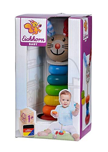 Eichhorn 100017019 - Baby Steckfigur mit Hasenmotiv, 6 Ringe mit Steckkopf, 18cm, FSC 100% Zertifiziertes Buchenholz, Made in Germany