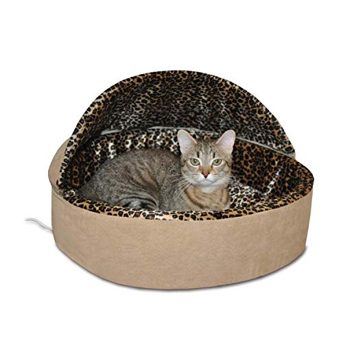 K&H Manufacturing Thermo-Kitty Deluxe Hooded Cat Bed, Small 16-Inch, 4-Watts, Tan Leopard