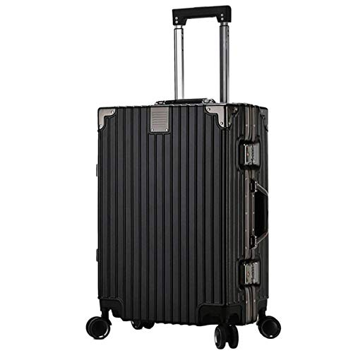 Luggage with Spinner Wheels, Silent Sturdy Durable Shockproof with TSA Lock Spinner Lightweight Suitcase for Adults Tourism Student Vacation-38x27x54cm-black