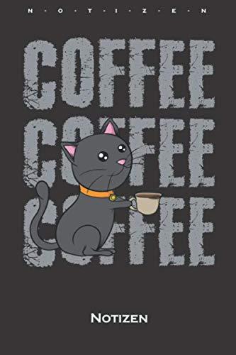 Katze Kaffee Comic Notizbuch: Liniertes Notizbuch für Katzen- und Tierfreunde