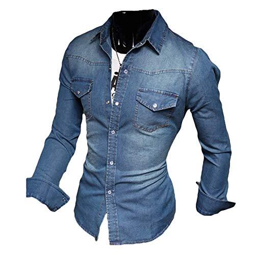 Reeseiy Camicia di Cotone da Uomo Casual Chic A Camicia Camicia Maniche Lunghe Uomo Slim Fit Vintage Camicia di Jeans Nero Azzurro Blu Scuro XS XXXL (Color : Dunkelblau, Size : XL)