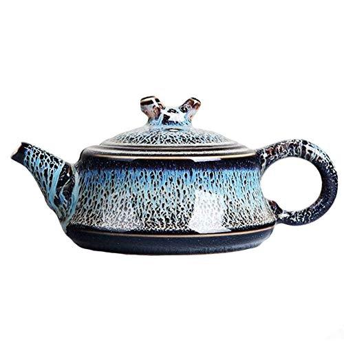 Cafetière Théières Rétro Teapot Céramique À Thé En Porcelaine Accueil Haute Température Résistance Kiln Change Maker Thé GAOFENG (Color : Croissant flat pot)