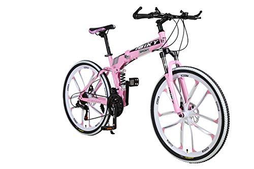 Ibiky Flex 26' MTB Folding Dual Suspension 21 Speed Gears Mountain Bike (Pink)