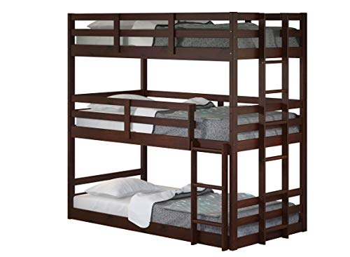 donco kids bunk beds DONCO Kids Triple Bunk Bed, Twin/Twin/Twin, Dark Cappuccino