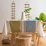 Pahajim Mantel Mesa Algodon Lino Manteles Cuadrada Diseño de Borlas Elegante Antimanchas Cubierta de Mesa Lavable Resistente para Decoración de la Mesa de Comedor(Rayas Verde Azuladas,140x180cm)