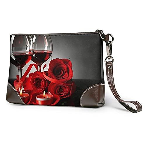 Rosa roja y vino amantes románticos decoración estampada bolso de mano de cuero desmontable bolso de mano bolso de mujer