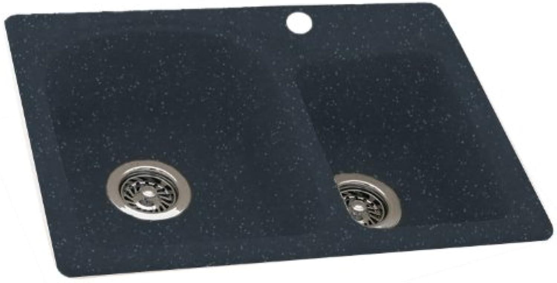 Swanstone KSDB-2518-015 25-Inch by 18-Inch Super Saver Double Bowl Kitchen Sink, Black Galaxy Finish