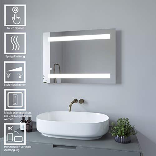 AQUABATOS 70x50 cm Badspiegel mit Beleuchtung badezimmerspiegel Lichtspiegel LED Wandspiegel Dimmbar mit Touch-Schalter kaltweiß IP44 energiesparend