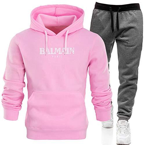 Conjunto completo de chándal para hombre, pantalones deportivos y sudadera con capucha, sudadera de manga larga + pantalones largos con (S-XXXL) rosa 2-XXL