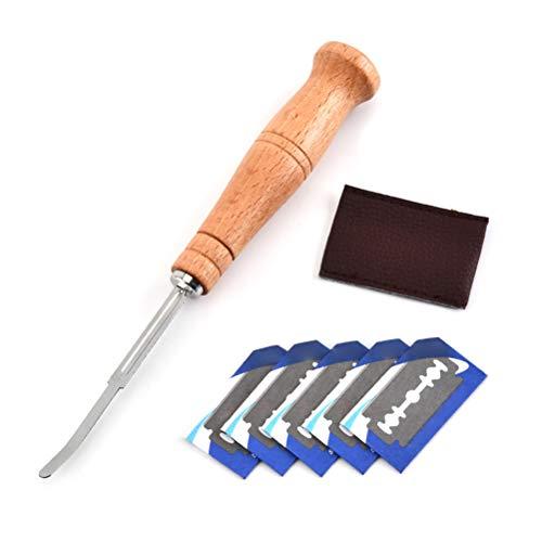 Yissma Couteau de boulanger, couteau à pain incurvé avec 5 lames, couteau à pain avec boîte de rangement, accessoire de cuisine