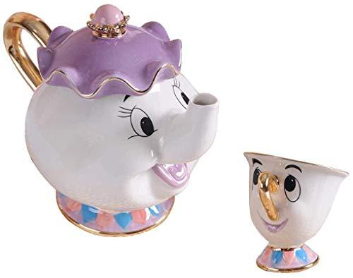 Tauras Beauty y el mejor servicio de té Mrs Potts TeaPot and Chip Mug Sculpture Ceramic Tea Service Figura (Conjunto 1)