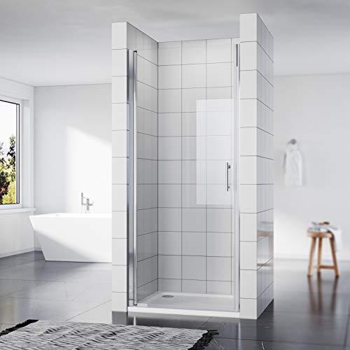 SONNI Duschkabine Duschtür Nischendrehtür 90 x 195 cm Nano Beschichtung Nischentür Schwingtür ESG Glas Dusche Glastür Dusche Pendeltür dusche Duschtrennwand