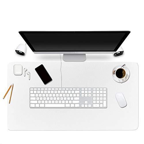 Alfombrilla protectora para escritorio de Bubm; 90 x 45 cm, organizador de escritorio de piel sintética, material secante, con cómoda superficie de escritura, color blanco 90x45cm